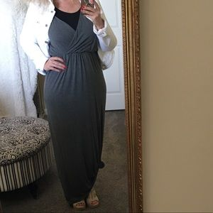 LUSH Nordstrom Maxi Dress Gray Knit Sleeveless